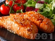 Глазирано филе от сьомга в портокалова глазура печено на скара или грил тиган
